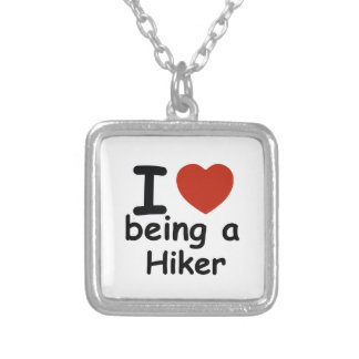 hiker design silver plated necklace