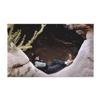 Hiker in Nevada Desert Chilling Out in the Rocks Canvas Print
