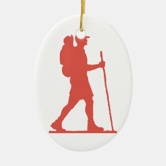 Hiker in Pink Ceramic Ornament
