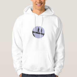 Hikers Crossing Single Log Bridge Oval Woodcut Hoodie