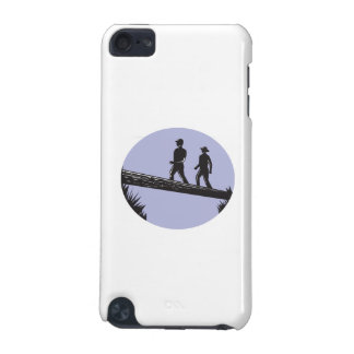 Hikers Crossing Single Log Bridge Oval Woodcut iPod Touch (5th Generation) Cover