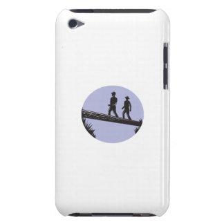 Hikers Crossing Single Log Bridge Oval Woodcut iPod Touch Case