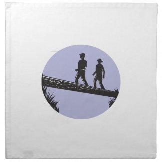 Hikers Crossing Single Log Bridge Oval Woodcut Napkin