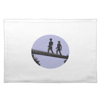 Hikers Crossing Single Log Bridge Oval Woodcut Placemat
