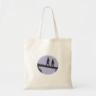Hikers Crossing Single Log Bridge Oval Woodcut Tote Bag