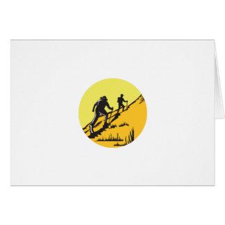 Hikers Hiking Up Steep Trail Circle Woodcut Card