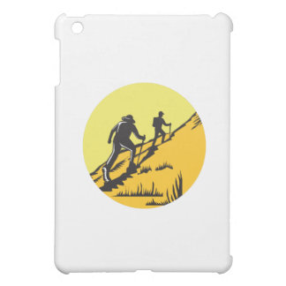 Hikers Hiking Up Steep Trail Circle Woodcut Case For The iPad Mini