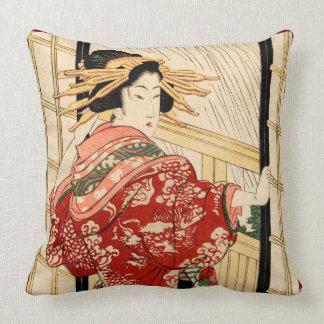 Hikeyotsu no yoru no ame (Vintage Japanese print) Throw Pillow