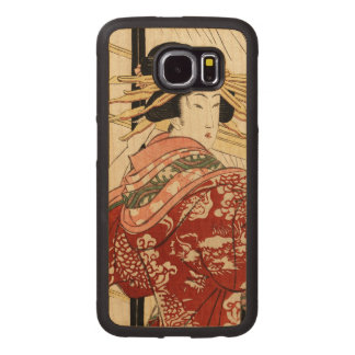 Hikeyotsu no yoru no ame (Vintage Japanese print) Wood Phone Case
