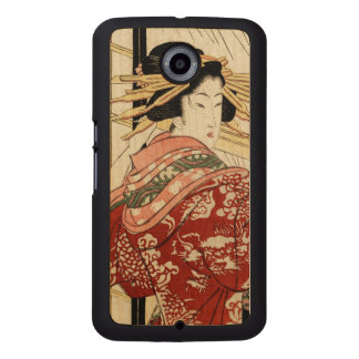 Hikeyotsu no yoru no ame (Vintage Japanese print) Wood Phone Case