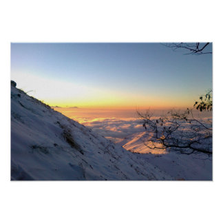 Hiking above clouds on Sunrise Poster