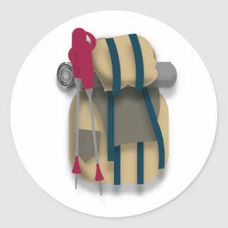 Hiking Backpack, bedroll & Walking Sticks Classic Round Sticker