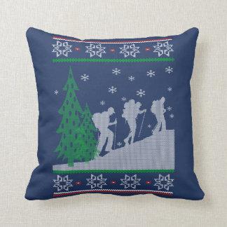 Hiking Christmas Throw Pillow