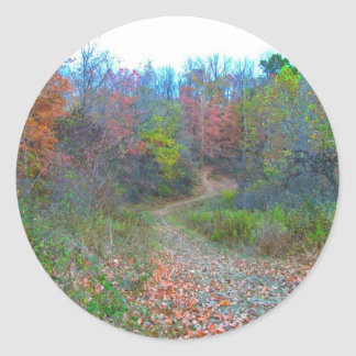 Hiking Deep Into The Woods Classic Round Sticker