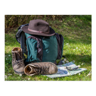 Hiking equipment postcard