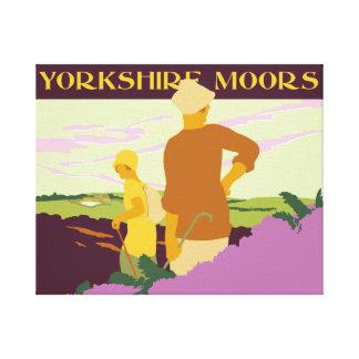 Hiking, fellwalking in the Yorkshire Moors retro Canvas Print