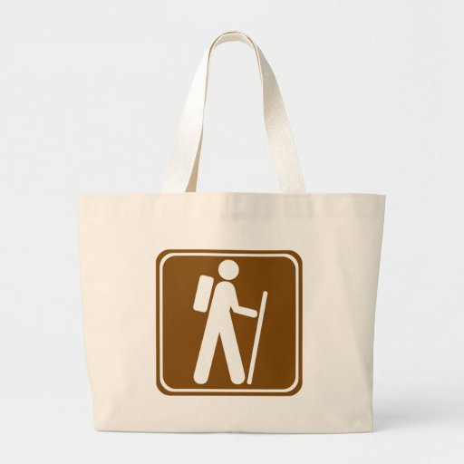 Hiking Highway Sign Canvas Bags