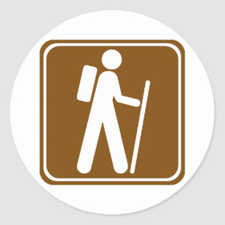 Hiking Highway Sign Classic Round Sticker
