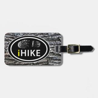 Hiking iHIKE Boot Print Tree Bark Background Luggage Tag