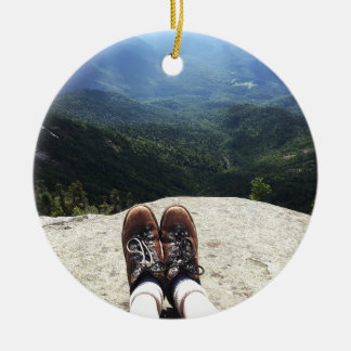 Hiking On Top of the World (version 1) Ceramic Ornament