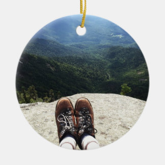 Hiking On Top of the World (version 2) Ceramic Ornament