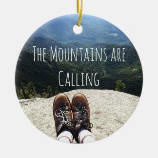 Hiking On Top of the World with Text II Ceramic Ornament
