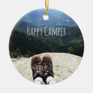 Hiking On Top of the World with Text III Ceramic Ornament