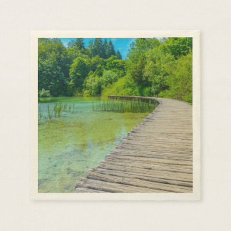 Hiking Path in Plitvice National Park in Croatia Disposable Napkins