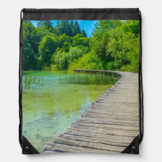 Hiking Path in Plitvice National Park in Croatia Drawstring Bag