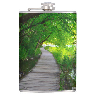 Hiking Path in Plitvice National Park in Croatia Hip Flask