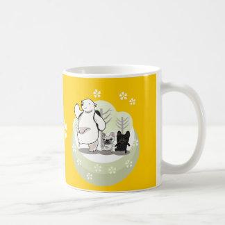 Hiking,polar bear and bull dogs classic white coffee mug