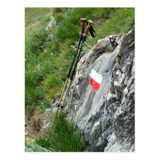 Hiking Poles, Trail Marker, Grand Tour of the Alps Postcard