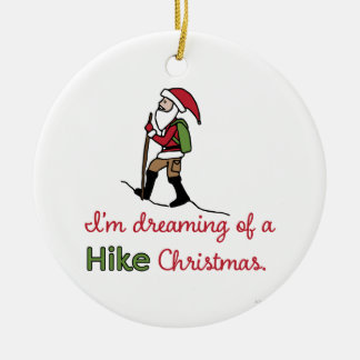 Hiking Santa Ceramic Ornament