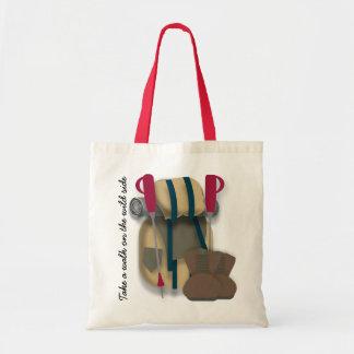 Hiking themed tote bag