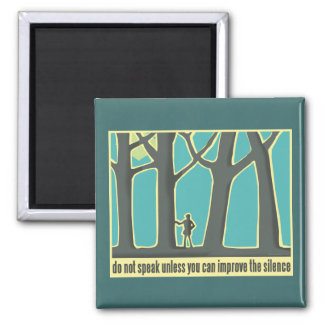 Hiking through Forest Trees Square Magnet