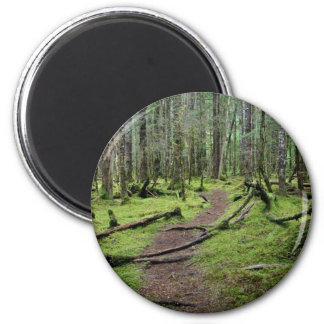 Hiking Through the Woods 2 Inch Round Magnet