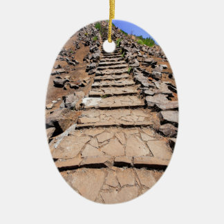 Hiking trail leading up the mountain on Madeira Ceramic Ornament