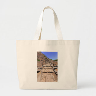 Hiking trail leading up the mountain on Madeira Large Tote Bag