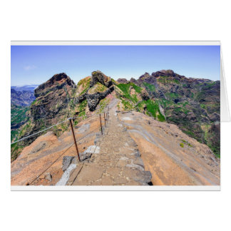 Hiking trail up in mountains on Madeira Portugal. Card