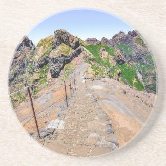 Hiking trail up in mountains on Madeira Portugal. Coaster