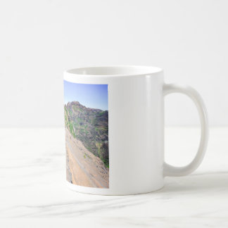 Hiking trail up in mountains on Madeira Portugal. Coffee Mug
