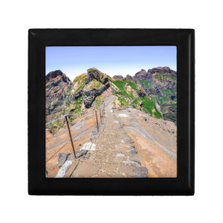 Hiking trail up in mountains on Madeira Portugal. Gift Box