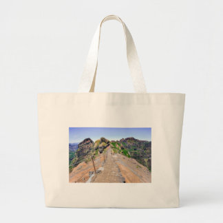 Hiking trail up in mountains on Madeira Portugal. Large Tote Bag