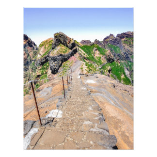 Hiking trail up in mountains on Madeira Portugal. Letterhead