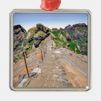 Hiking trail up in mountains on Madeira Portugal. Metal Ornament