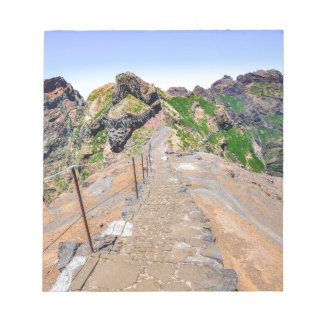 Hiking trail up in mountains on Madeira Portugal. Notepad