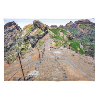 Hiking trail up in mountains on Madeira Portugal. Placemat