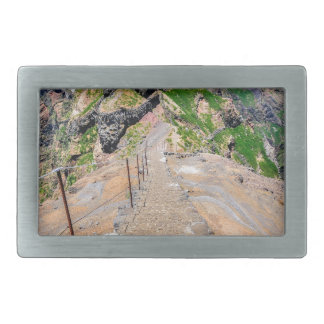 Hiking trail up in mountains on Madeira Portugal. Rectangular Belt Buckle
