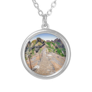 Hiking trail up in mountains on Madeira Portugal. Silver Plated Necklace