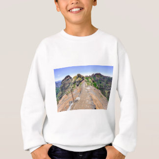 Hiking trail up in mountains on Madeira Portugal. Sweatshirt